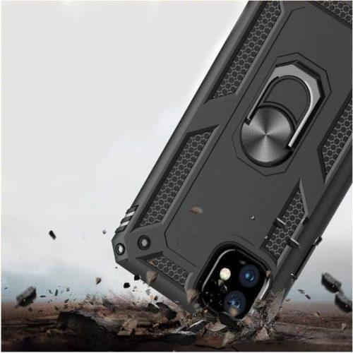Huawei Honor 30S, Műanyag hátlap védőtok, közepesen ütésálló, szilikon belső, telefontartó gyűrű, Defender, fekete