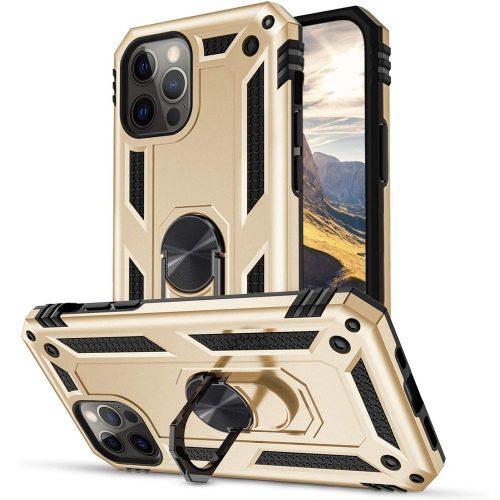Huawei Honor 30S, Műanyag hátlap védőtok, közepesen ütésálló, szilikon belső, telefontartó gyűrű, Defender, arany