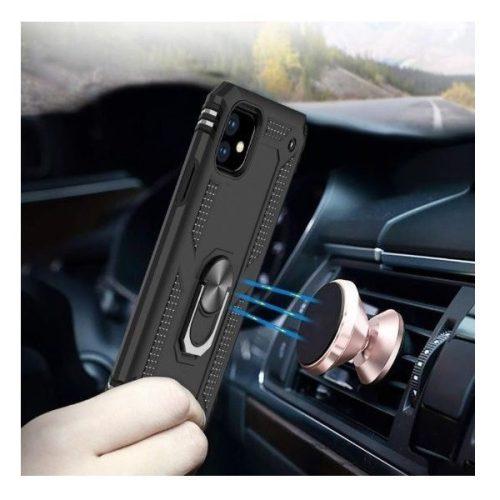 Huawei Honor 30S, Műanyag hátlap védőtok, közepesen ütésálló, szilikon belső, telefontartó gyűrű, Defender, vörösarany