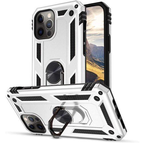 Huawei Honor 30S, Műanyag hátlap védőtok, közepesen ütésálló, szilikon belső, telefontartó gyűrű, Defender, ezüst