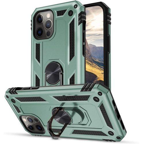 Huawei Honor 30S, Műanyag hátlap védőtok, közepesen ütésálló, szilikon belső, telefontartó gyűrű, Defender, zöld