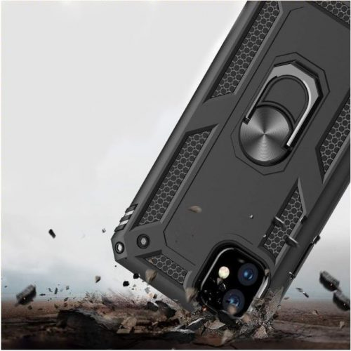 Huawei Honor 30 Pro / 30 Pro Plus, Műanyag hátlap védőtok, közepesen ütésálló, szilikon belső, telefontartó gyűrű, Defender, fekete