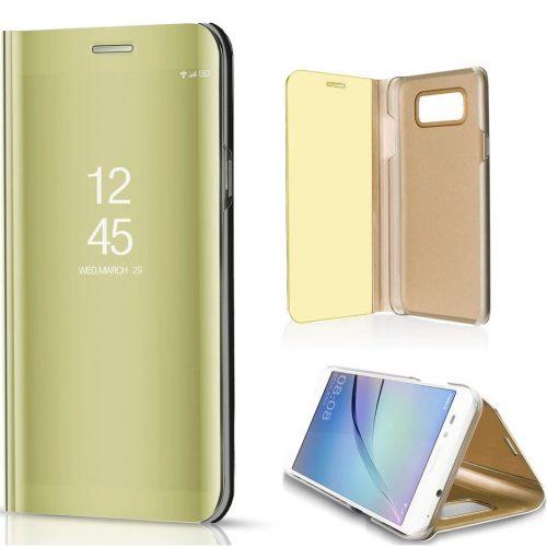 Huawei Honor 30 Lite / 30 Youth, Oldalra nyíló tok, hívás mutatóval, Smart View Cover, arany (utángyártott)
