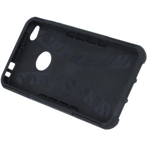 Xiaomi Redmi 10X 5G / 10X Pro 5G, Műanyag hátlap védőtok, Defender, kitámasztóval és szilikon belsővel, autógumi minta, fekete