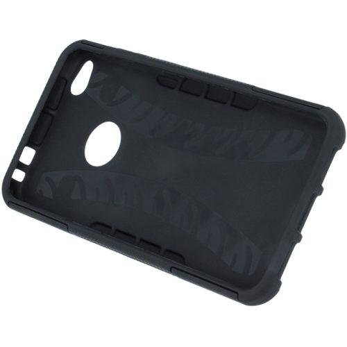 Xiaomi Redmi Note 10 5G, Műanyag hátlap védőtok, Defender, kitámasztóval és szilikon belsővel, autógumi minta, fekete