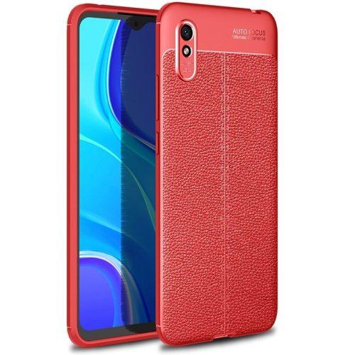 Xiaomi Redmi 10X 5G / 10x Pro 5G, Szilikon tok, bőrhatású, varrásminta, piros