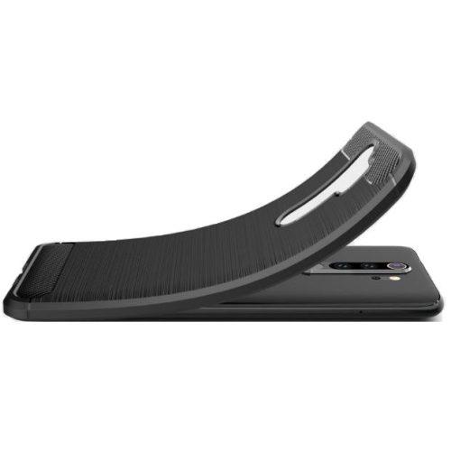Xiaomi Redmi 10X 5G / 10X Pro 5G, Szilikon tok, közepesen ütésálló, szálcsiszolt, karbon minta, fekete