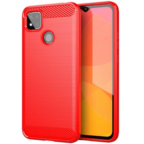 Xiaomi Redmi 10X 5G / 10X Pro 5G, Szilikon tok, közepesen ütésálló, szálcsiszolt, karbon minta, piros