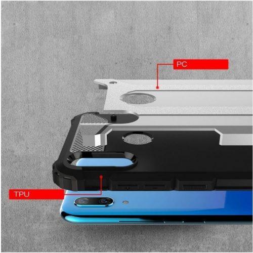 Xiaomi Redmi 10X 5G / 10X Pro 5G, Műanyag hátlap védőtok, Defender, fémhatású, ezüst