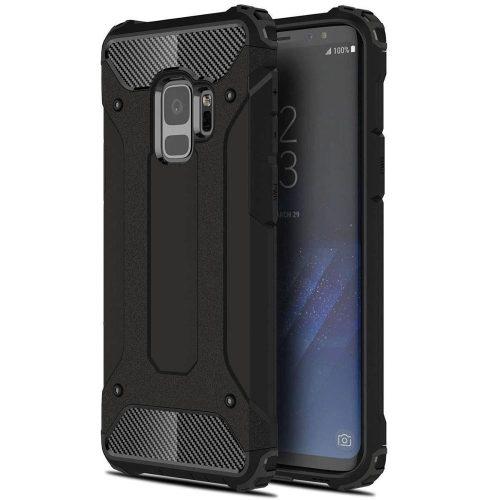 Xiaomi Redmi Note 10 5G, Műanyag hátlap védőtok, Defender, fémhatású, fekete