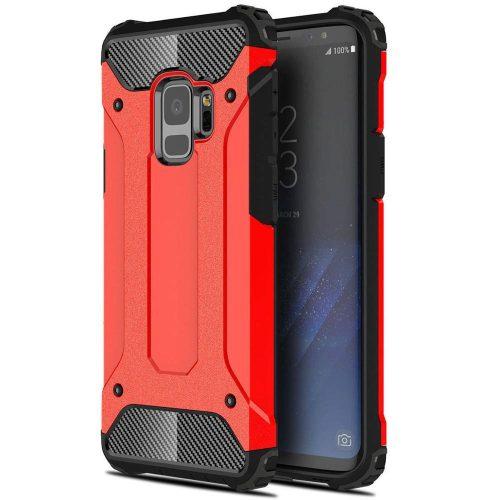 Xiaomi Redmi Note 10 5G, Műanyag hátlap védőtok, Defender, fémhatású, piros