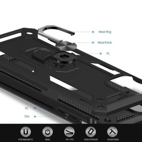 Xiaomi Redmi 10X 5G / 10X Pro 5G, Műanyag hátlap védőtok, közepesen ütésálló, szilikon belső, telefontartó gyűrű, Defender, fekete