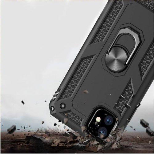 Xiaomi Redmi 10X 5G / 10X Pro 5G, Műanyag hátlap védőtok, közepesen ütésálló, szilikon belső, telefontartó gyűrű, Defender, ezüst