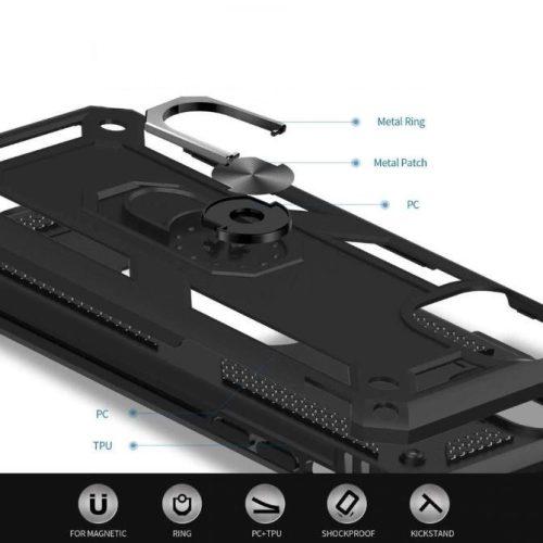 Xiaomi Redmi Note 10 5G, Műanyag hátlap védőtok, közepesen ütésálló, szilikon belső, telefontartó gyűrű, Defender, fekete
