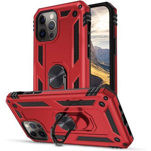 Xiaomi Redmi Note 10 5G, Műanyag hátlap védőtok, közepesen ütésálló, szilikon belső, telefontartó gyűrű, Defender, piros