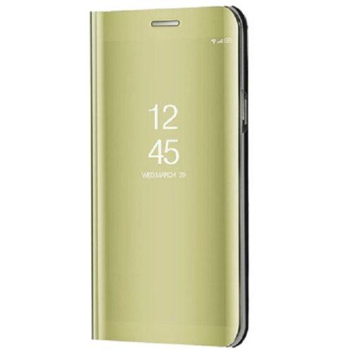 Xiaomi Redmi 10X 5G / 10X Pro 5G, Oldalra nyíló tok, hívás mutatóval, Smart View Cover, arany (utángyártott)