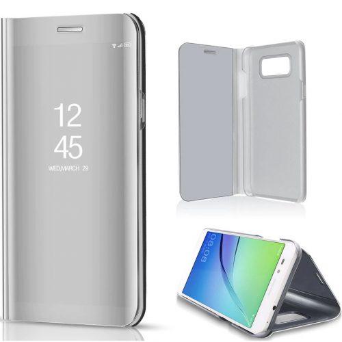 Xiaomi Redmi 10X 5G / 10X Pro 5G, Oldalra nyíló tok, hívás mutatóval, Smart View Cover, ezüst (utángyártott)