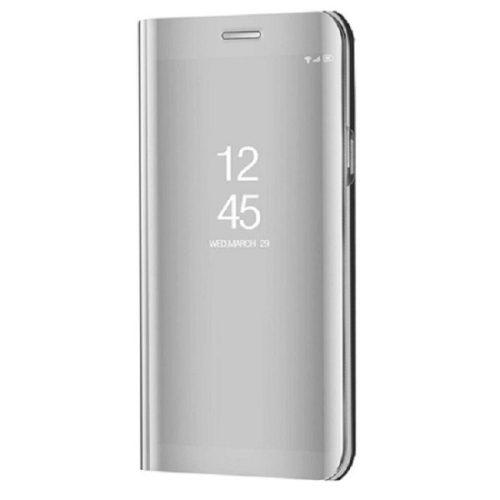 Xiaomi Redmi Note 10 5G, Oldalra nyíló tok, hívás mutatóval, Smart View Cover, ezüst (utángyártott)