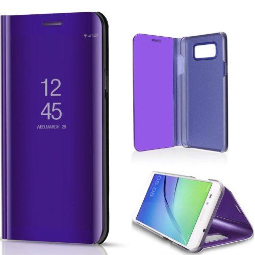Xiaomi Redmi Note 10 5G, Oldalra nyíló tok, hívás mutatóval, Smart View Cover, lila (utángyártott)