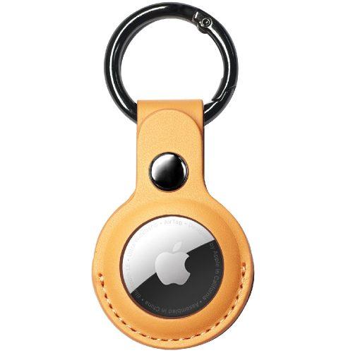 Apple AirTag bőrtok, karabíner, Wooze AirTag Skin Effect, sárga