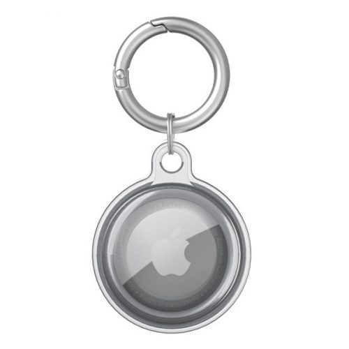 Apple AirTag szilikon tok, karabíner, Wooze AirTag Bubble, átlátszó/fekete