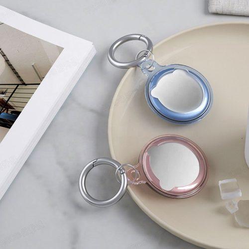 Apple AirTag szilikon tok, karabíner, Wooze AirTag Bubble, átlátszó/kék