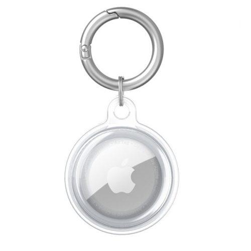 Apple AirTag szilikon tok, karabíner, Wooze AirTag Bubble, átlátszó/fehér