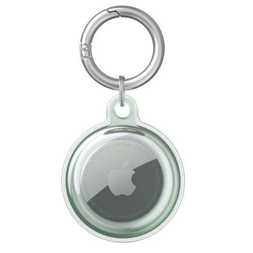 Apple AirTag szilikon tok, karabíner, Wooze AirTag Bubble, átlátszó/zöld