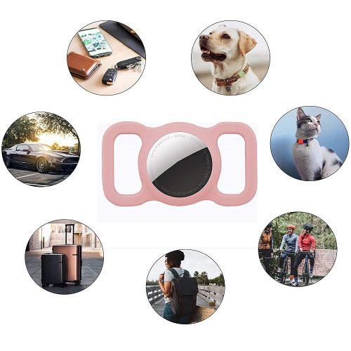 Apple AirTag szilikon tok, nyakörvre helyezhető, Wooze AirTag Pet Guard, barack