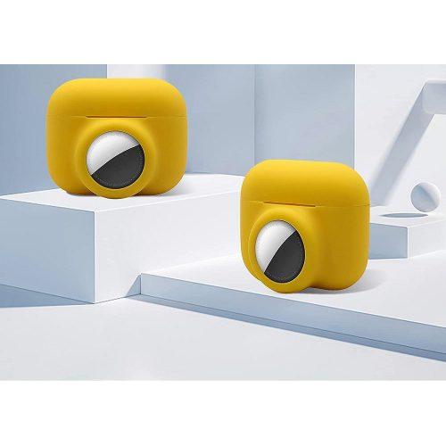 Bluetooth fülhallgató töltőtok tartó, szilikon, karabiner, AirTag tartóval, Apple AirPods Pro kompatibilis, Wooze AirTag Follow AirPods, sárga