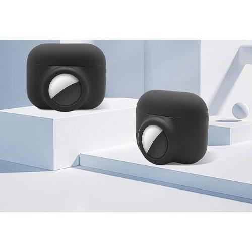 Bluetooth fülhallgató töltőtok tartó, szilikon, karabiner, AirTag tartóval, Apple AirPods Pro kompatibilis, Wooze AirTag Follow AirPods, lila