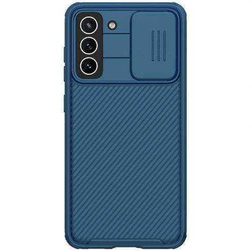 Samsung Galaxy S21 FE 5G SM-G990, Műanyag hátlap + szilikon keret, közepesen ütésálló, kameravédelem, csíkos minta, Nillkin CamShield Pro, sötétkék