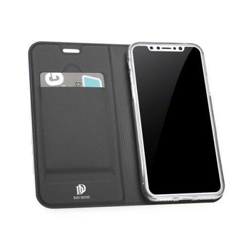 Huawei Mate 30 Lite, Oldalra nyíló tok, stand, Dux Ducis, sötétszürke
