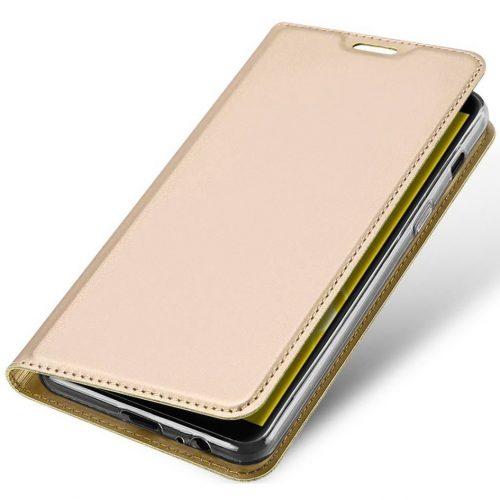 Huawei P40 Lite E, Oldalra nyíló tok, stand, Dux Ducis, arany
