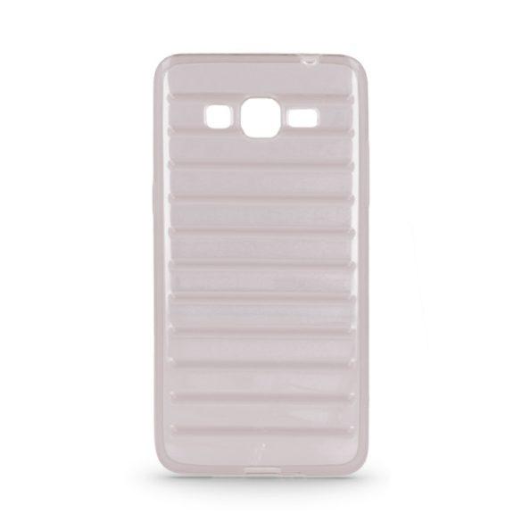 Samsung Galaxy J1 SM-J100F, TPU szilikon tok, 3D csíkos minta, szürke