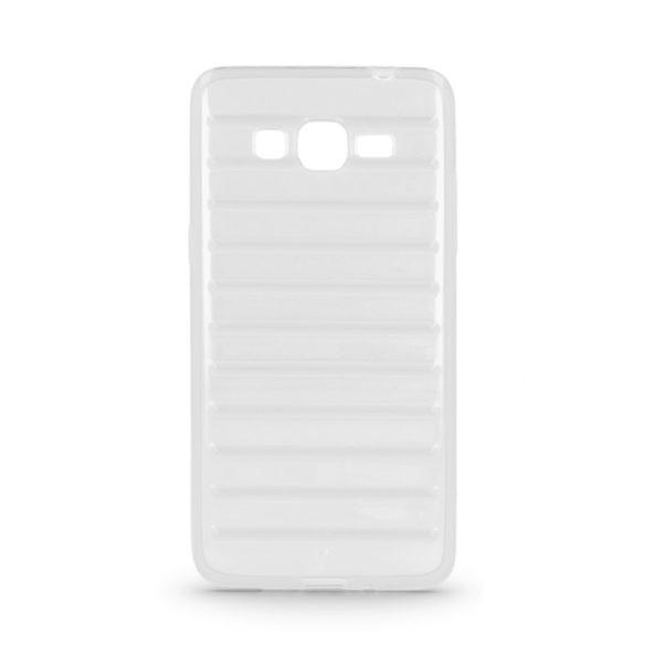 Samsung Galaxy J1 SM-J100F, TPU szilikon tok, 3D csíkos minta, átlátszó
