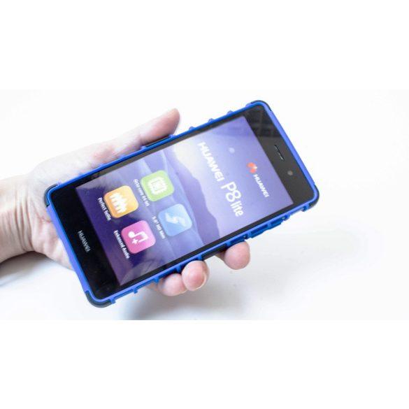 Samsung Galaxy J2 (2016) SM-J210F, Műanyag hátlap védőtok, ütésálló, kitámasztóval, Forcell Panzer Case, fekete/kék