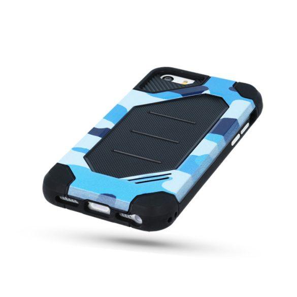 LG K8 (2017), Műanyag hátlap védőtok, Defender Army, közepesen ütésálló, terepmintás, fekete/kék