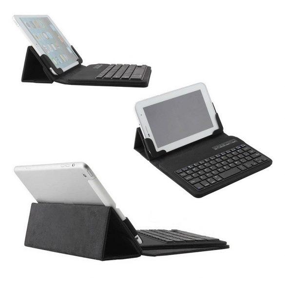 """Bluetooth billentyűzetes mappa tok, univerzális, 7""""- 8"""" tablethez, fekete"""