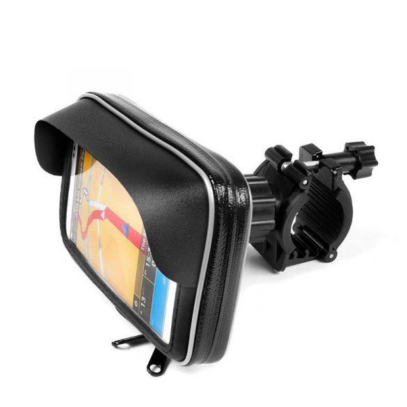 Univerzális tok, kerékpárra / motorkerékpárra szerelhető, vízálló, napellenzővel, Extreme 167, fekete