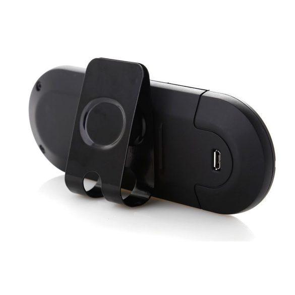 Bluetooth kihangosító, Multipoint, napellenzőre csíptethető, funkció gombok, fekete