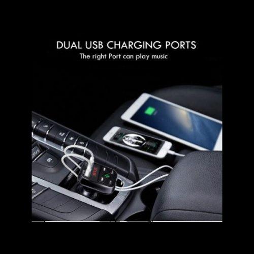 Autós töltő, Szivargyújtós töltő, + FM transzmitter, v4.1, 5V / 2100mA, 2 x USB aljzat, fekete