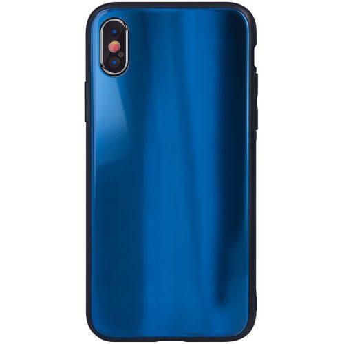 Huawei P40, Szilikon védőkeret, edzett üveg hátlap, Aurora Glass, sötétkék
