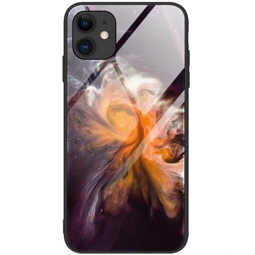 Apple iPhone 11, Szilikon védőkeret, edzett üveg hátlap, márvány minta, Wooze FutureCover, fekete/színes