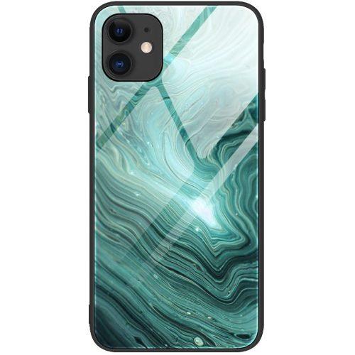 Apple iPhone 11, Szilikon védőkeret, edzett üveg hátlap, márvány minta, Wooze FutureCover, sötétzöld