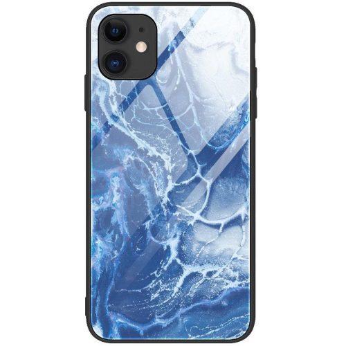 Apple iPhone 11, Szilikon védőkeret, edzett üveg hátlap, márvány minta, Wooze FutureCover, kék