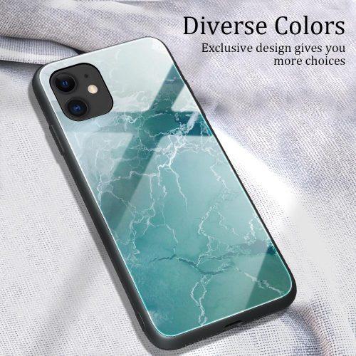 Apple iPhone 11, Szilikon védőkeret, edzett üveg hátlap, márvány minta, Wooze FutureCover, világoszöld