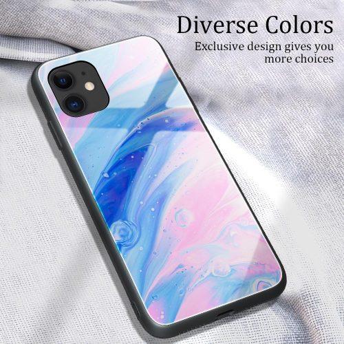 Apple iPhone 11, Szilikon védőkeret, edzett üveg hátlap, márvány minta, Wooze FutureCover, rózsaszín/kék