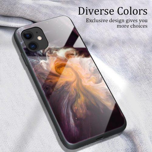 Apple iPhone 11 Pro Max, Szilikon védőkeret, edzett üveg hátlap, márvány minta, Wooze FutureCover, fekete/színes