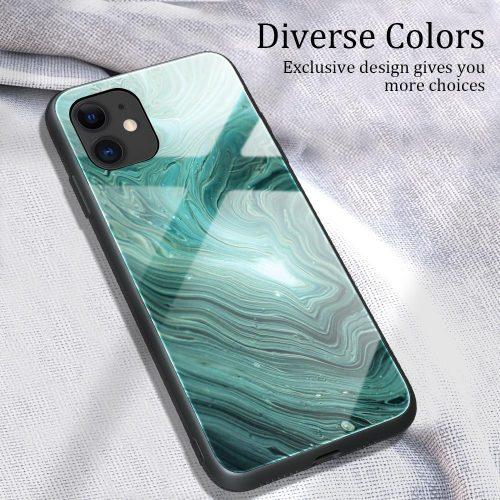 Apple iPhone 11 Pro Max, Szilikon védőkeret, edzett üveg hátlap, márvány minta, Wooze FutureCover, sötétzöld